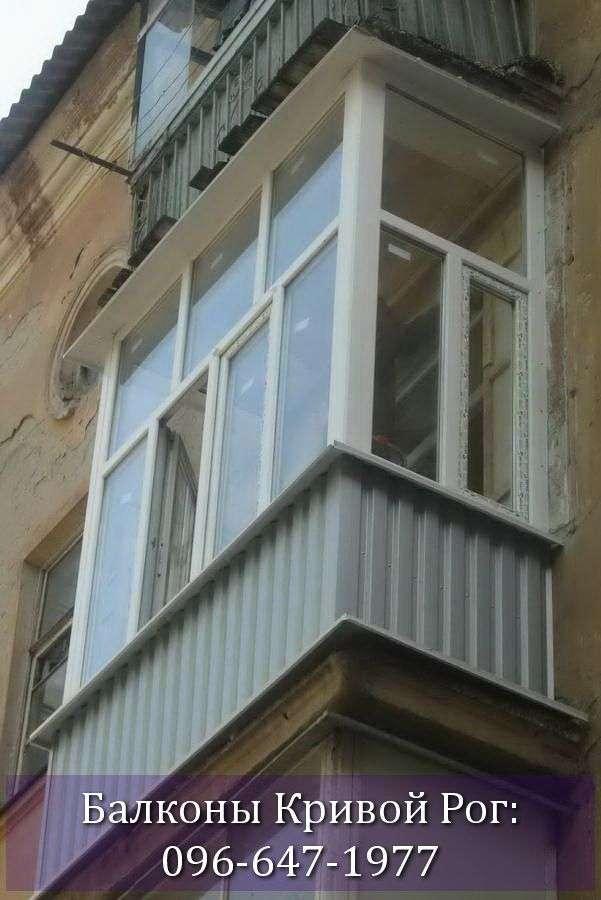 Обшить балкон в Кривом Роге профнастилом серого цвета